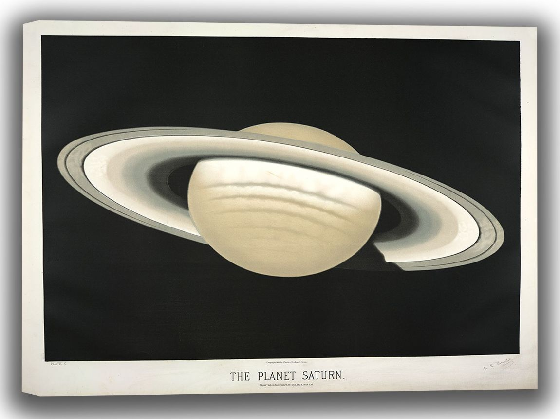 Trouvelot, Etienne Leopold: The Planet Saturn. (The Trouvelot Astronomical Drawings, 1882). Astronomy/Space Canvas. Sizes: A4/A3/A2/A1 (0028)